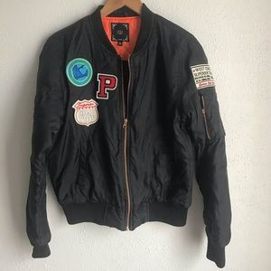 IRIS Los Angeles Black Bomber Jacket size medium